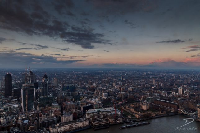 The City of London and Tower of London as dusk begins to fall.