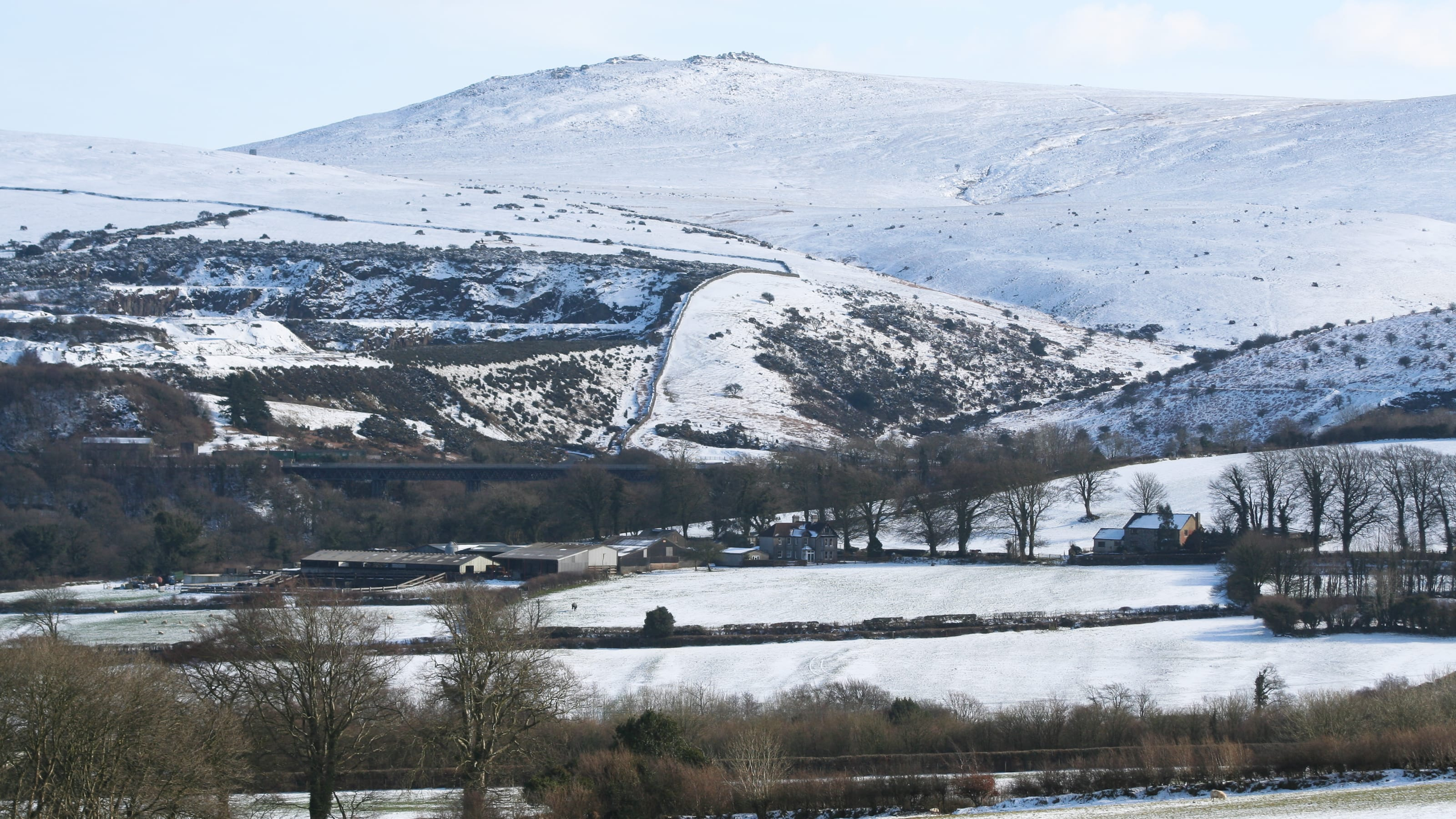 Meldon Viaduct, beneath snow-capped Yes Tor, Dartmoor