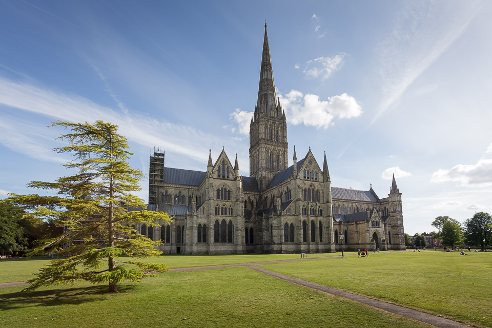 Cathedral with tall spire, in sunshine