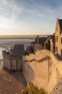 The ramparts on Mont St. Michel in early-morning sunshine