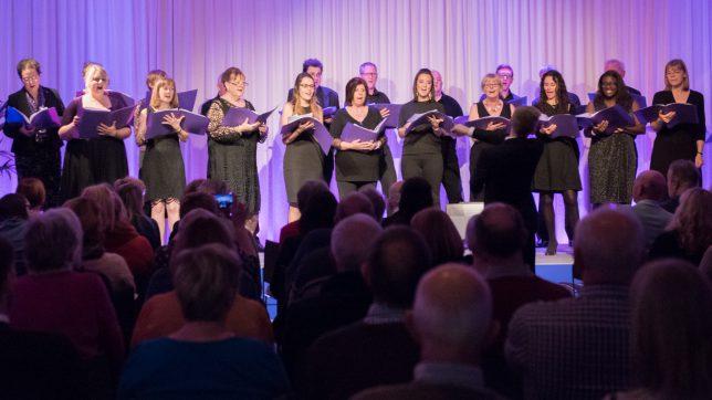 Choir singing in a concert