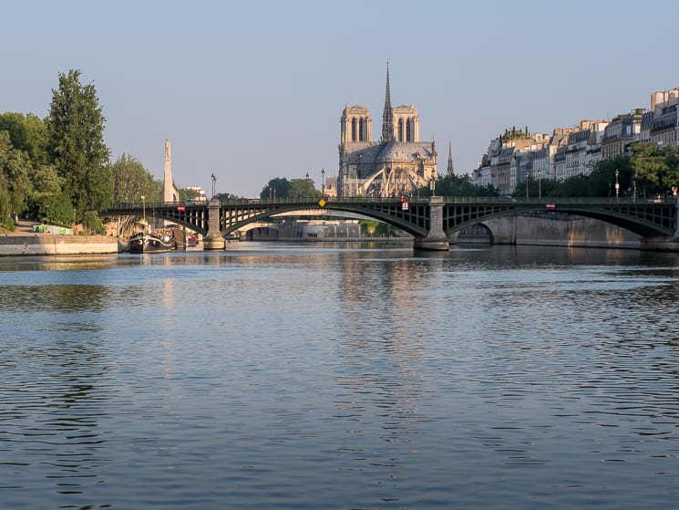 Notre Dame reflections in the Seine from the Esplanade de Villes, Paris